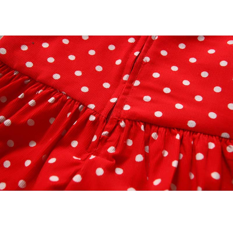 2-7Y  2 pieces Girls Christmas Style Sets Polka Dot Dress Long Sleeve Tops Blouse