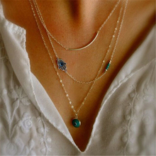 2015 Fashion Summer Jewelry 18k Gold Simple collares Necklace Devil Eye Pendant Silver Chain Statement Necklaces For Women(China (Mainland))