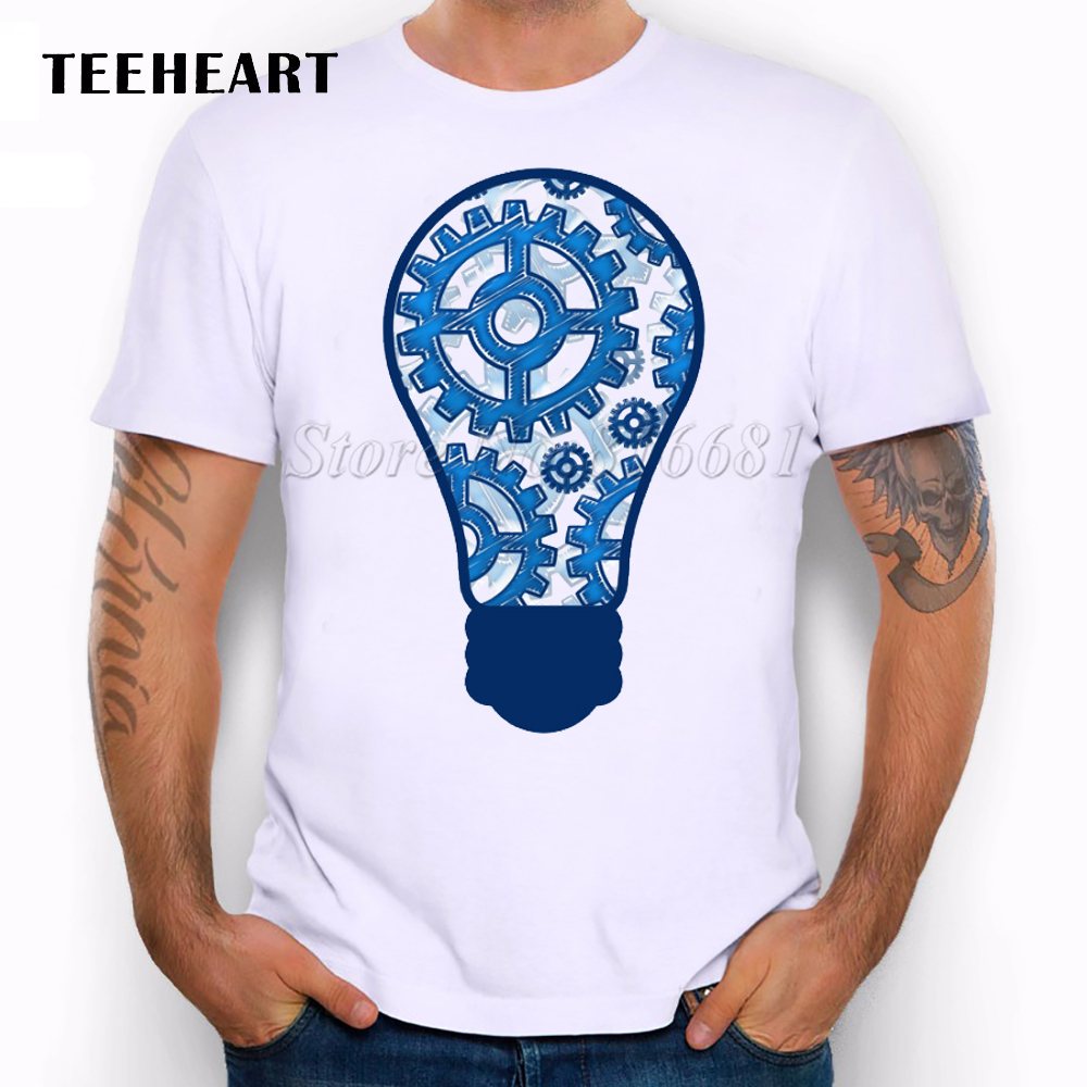 New 2016 Summer Blue gears light bulb Design T Shirt Men's High Quality Graphics print Tops Hipster Tees(China (Mainland))