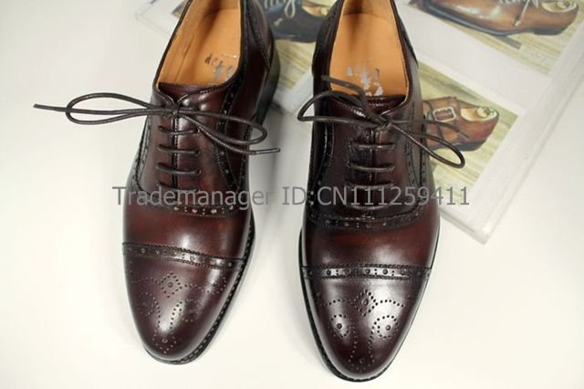 cie Free shipping bespoke goodyear welted custom handmade pure genuine calf leather men's dress oxford color coffee shoe OX142(China (Mainland))