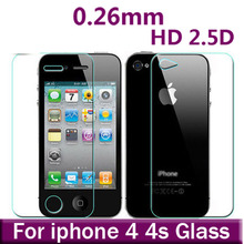Premium 0.26mm 9H Front +Back Tempered Glass Screen Protector For iPhone 4 4S Explosion Proof Clear Toughened Protective Film