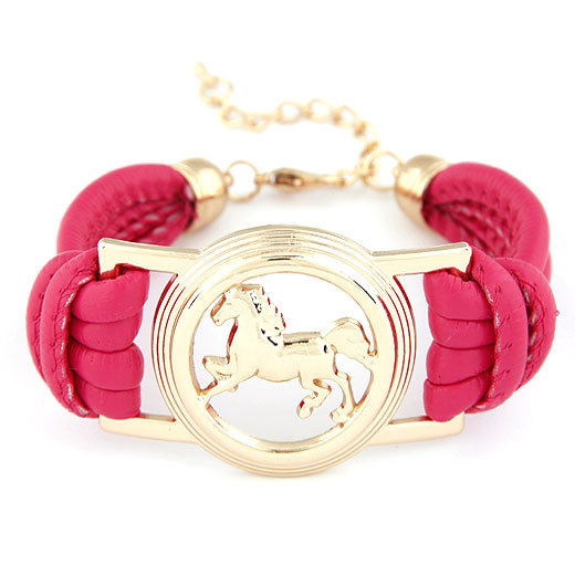 Boutique Fashion Neon Color Mutilever PU Leather Bracelet Gold Filled Horse Alloy Pendant Charm Jewelry Women's Charms Bracelet(China (Mainland))