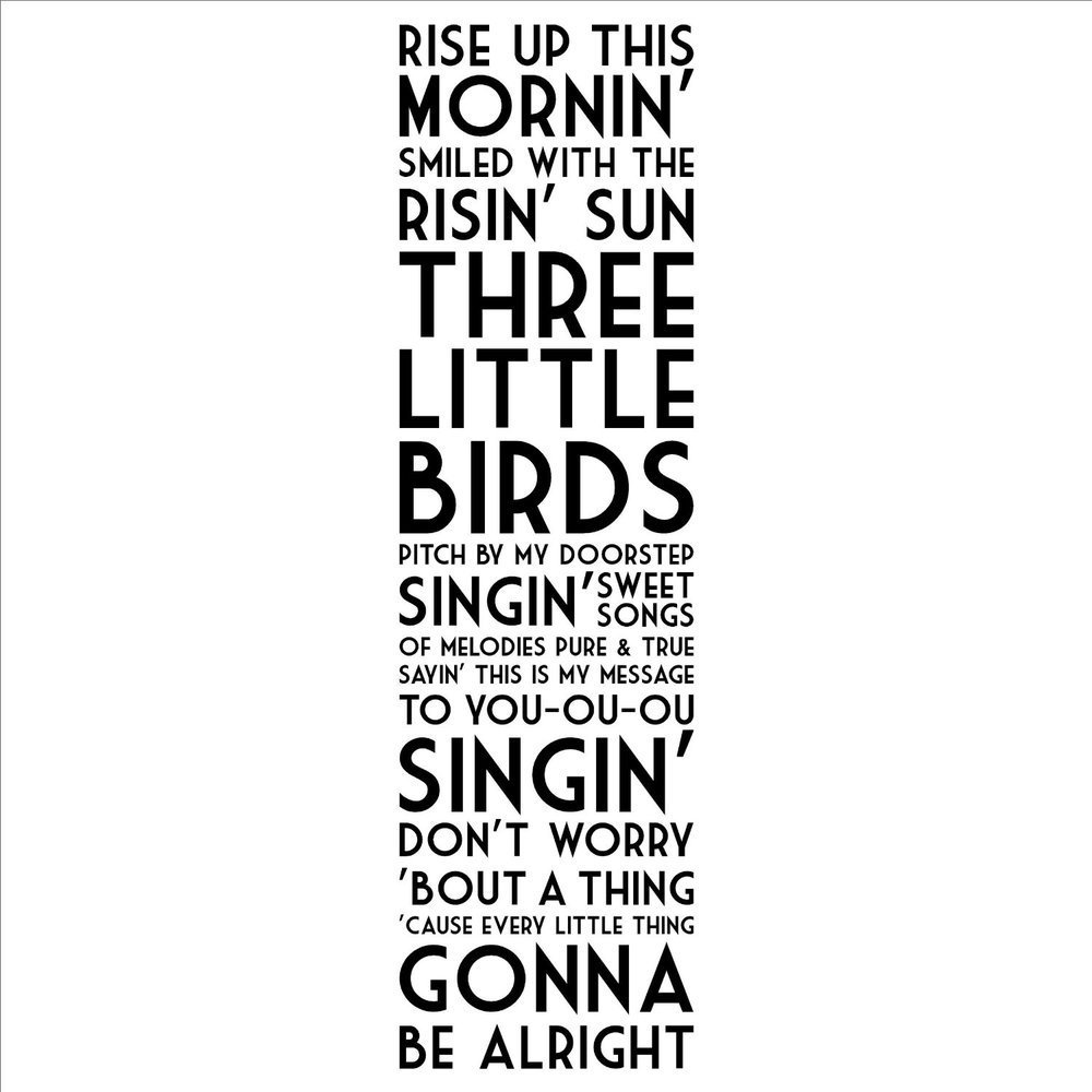 Rise Up This Mornin' Smiled With the Risin' Sun Three Little Birds wall sayings home decor decal stickers quotes bob marley(China (Mainland))