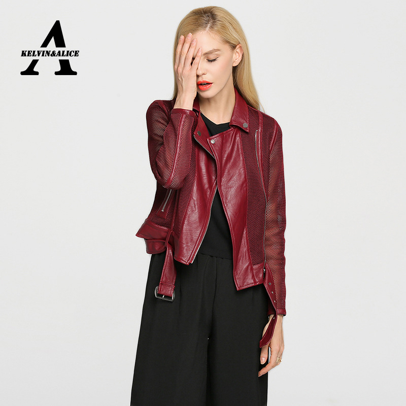 Biker Leather Jacket Women Jaqueta De Couro Feminina PU Leather Womens Short Motorcycle Grid Hollow Out Jacket Coat Одежда и ак�е��уары<br><br><br>Aliexpress