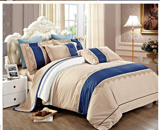 100 combed cotton embroidery 4pcs bedding set 2015 new high end hotel bedcloth in bedding sets. Black Bedroom Furniture Sets. Home Design Ideas