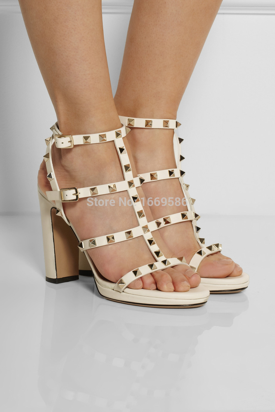 Фотография Shoesofdream  2015 Fashion Rivets Opened Toe White Slingbacks Thin Heel Buckle Coppy Leather Women Summer Square Heel Sandals