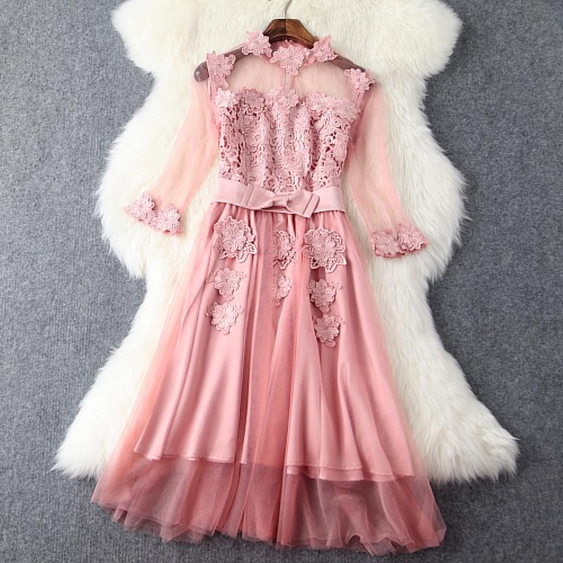 ladies Embroidery flower dress 2016 new summer Clothing fashion luxury party Dress plus size Elegant Women vintage Cute dresses(China (Mainland))