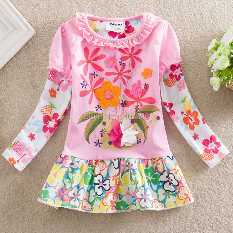 NEAT New 2014 baby & kids 100% cotton embroidered flowers dress girls decals little pure and fresh and dress children(China (Mainland))