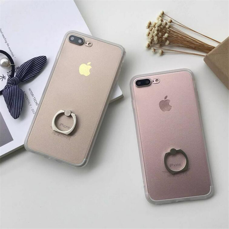 Newest Transparent Silk print cover cases Ring support for iphone 7 4.7″ & 7plus 5.5″ phone cases