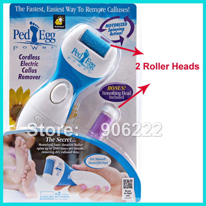 Free Shipping 2 Removable Roller Heads Electric Foot Care Tool Skin Care Feet Dead Skin Removal(China (Mainland))