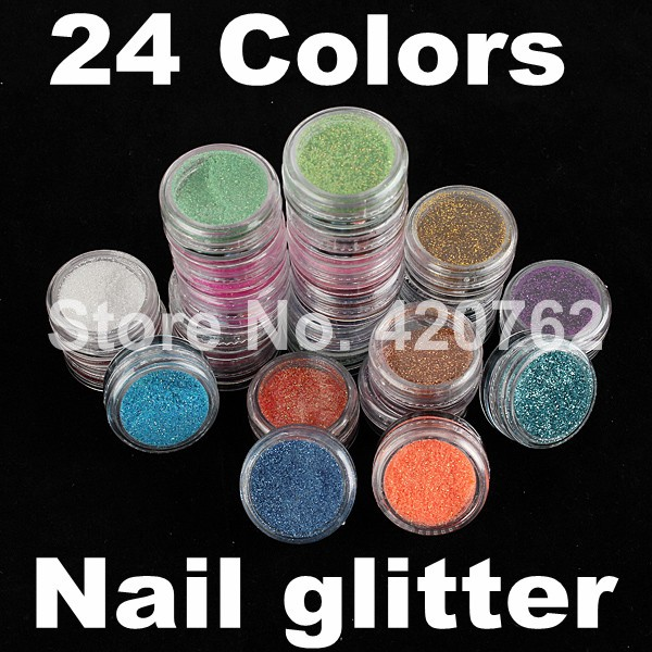 24 Colors Fashion Nail Glitter Powder Decoration Pots Shiny Dust Acrylic UV Gel Nail Art Tip 2015 New Arrivals Hot Selling(China (Mainland))