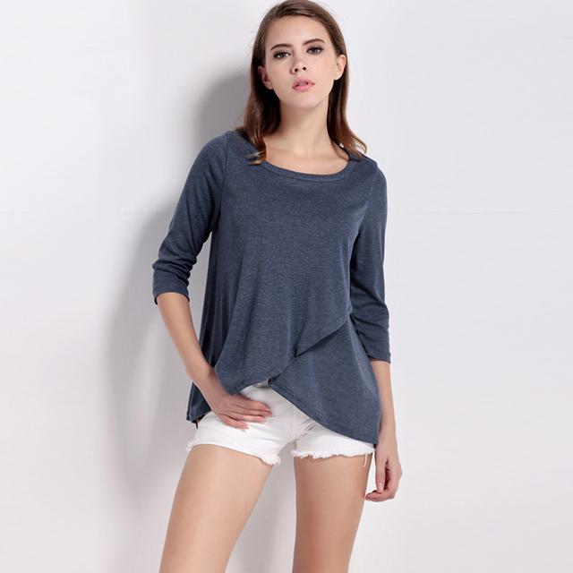 Новое поступление женщины топы осень мода футболка твердые три четверти рукав о-образным шею нерегулярные футболка девушку широкий футболки