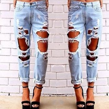 2015 New Fashion women jeans woman Light Blue Solid Novelty Skinny Full length ripped jeans