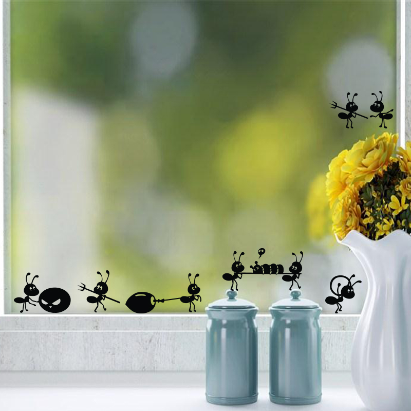 P2054 Furnishings wall stickers cartoon decoration glass , ant Mirror Window Stickers Home Decoration - walls tale store