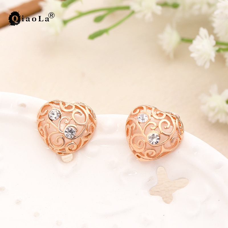 Brincos Crystal Stud Earrings Fashion Jewelry Oorbellen Aros Gold Love Heart Earrings For Women Orecchini Boucle D'oreille(China (Mainland))