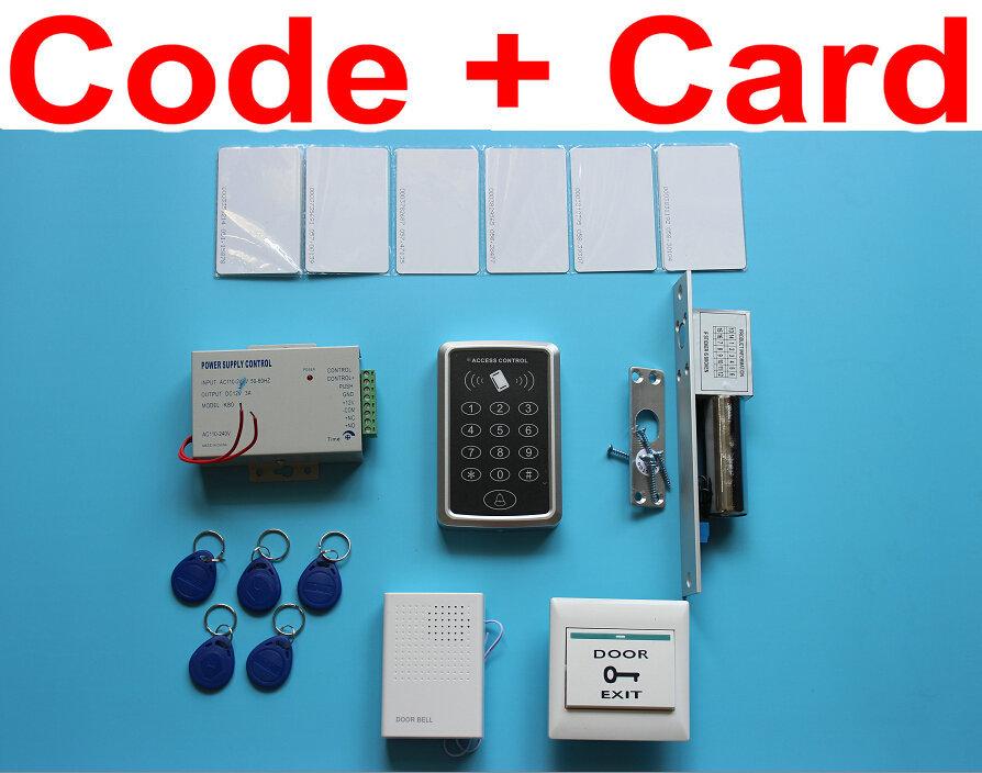 Здесь можно купить  Pin Code+RFID Card RFID Access Control System Kit Set + Drop Bolt Door Lock + ID Card Keytab + Power + Touch Button Rele  Безопасность и защита