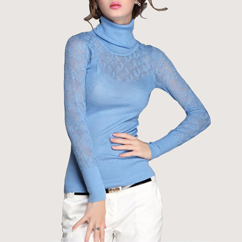 2014 New Autumn&Winter Turtleneck Cashmere Long Sweater Women Hollow Lace Flower Knitted Basic Shirt Thin Pullovers HZ123