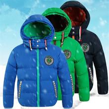 Vestuário 2016 das crianças criança para baixo algodão-acolchoado casaco de inverno masculino criança além de veludo amassado espessamento jaqueta com uma capô
