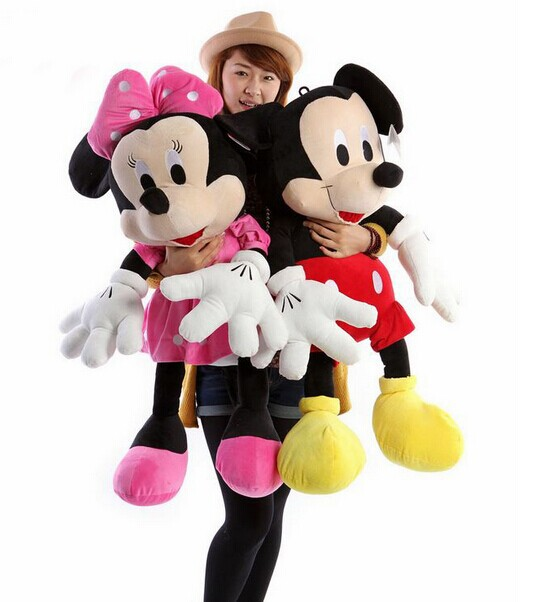 a pair of big lovely plush mickey mouse toys red boy mickey and pink girl minny stuff dolls birthday gift about 100cm(China (Mainland))