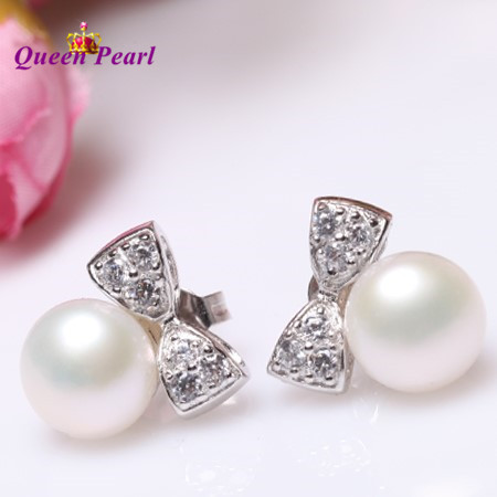 4 COLOR Real Freshwater Pearl Earrings 925 Silver Stud Earrings Fashion Bowknot Beautiful Girls' Female Lady's Jewelry Nice Gift(China (Mainland))