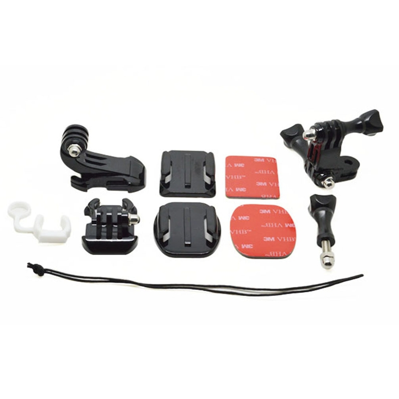 Safety stap+Curved/Flat sticker+J-Hook Buckle Mount+Long/Short vertical hinge+Rubber lock+Screw, for GoPro Hero 4/3+/3/2/1(China (Mainland))