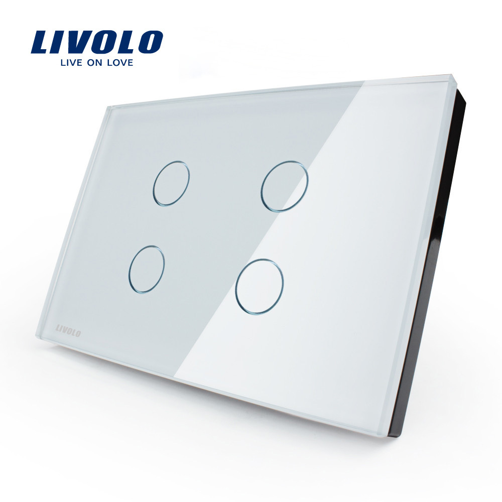 Smart Home US Standard Livolo Touch & Remote Control Switch, Crystal Glass Panel 4gang Wall Light Touch Switch+ LED Indicator(China (Mainland))