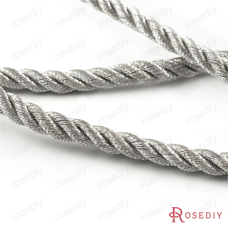(29968)5 meters 5MM Silver Color Polyester Rope Cord Diy Jewelry Findings Jewelry Accessories wholesale<br><br>Aliexpress