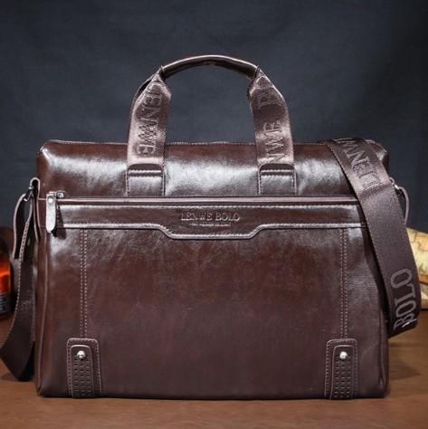 GENUINE LEATHER commercial handbag messenger bag LENWE BOLO Men's handbags shoulder bag computer bag business bag(China (Mainland))