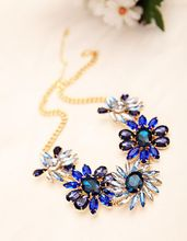 2015 fashion jewelry manufacturers selling colour crystal gem flower chain pendant necklace for women(China (Mainland))