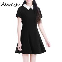 Buy Summer Elegant Women Vestidos Peter Pan Collar Dresses Party Lady Short Sleeve Office Dress School Sundress for $6.66 in AliExpress store