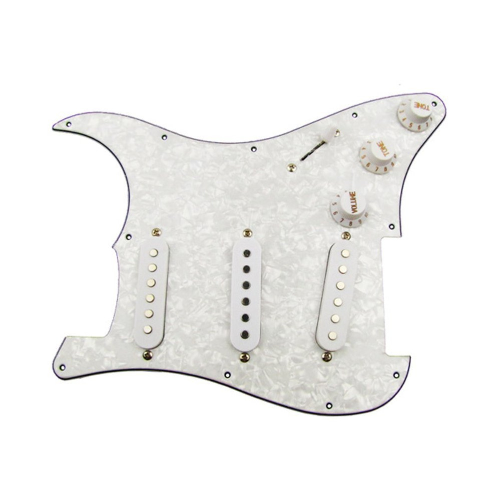 TOY STORES Guitar 3 Single Coil Loaded Prewired Pickguard Set SSS Plain for Strat Stratocaster Guitar Parts, Pearl White(China (Mainland))