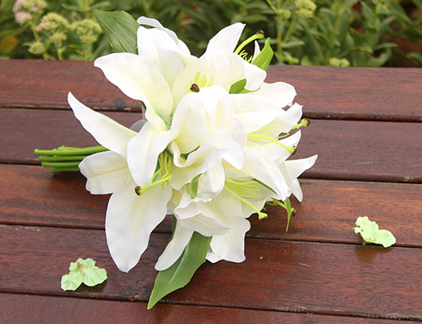 Wedding Bouquets With White Lilies Sweetday Pink Lily Bride Bouquet Flower In