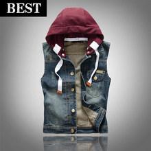 Free shipping New Men's Denim Vest Coat Slim Fit detachable hooded fashion sleeveless jacket cotton jeans vest(China (Mainland))