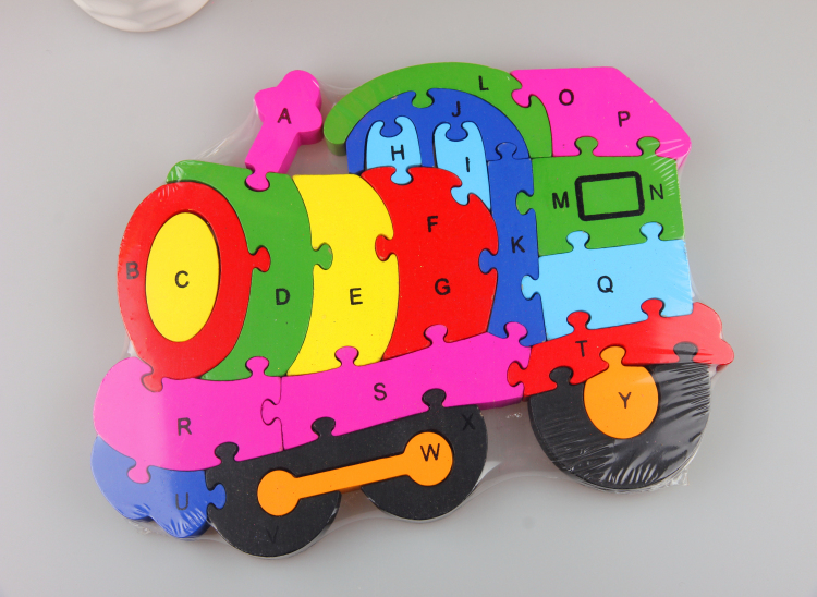 Children's educational toys enlightenment / 26 English letters digital cognitive three-dimensional jigsaw puzzle Thomas train(China (Mainland))