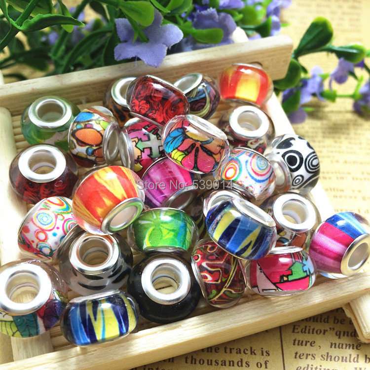 Free Shipping 14MM Mixed Color Silver Cord Big Hole Loose Beads Charms Fit Murano Pandora Jewelry Bracelet Findings 100pcs/lot(China (Mainland))