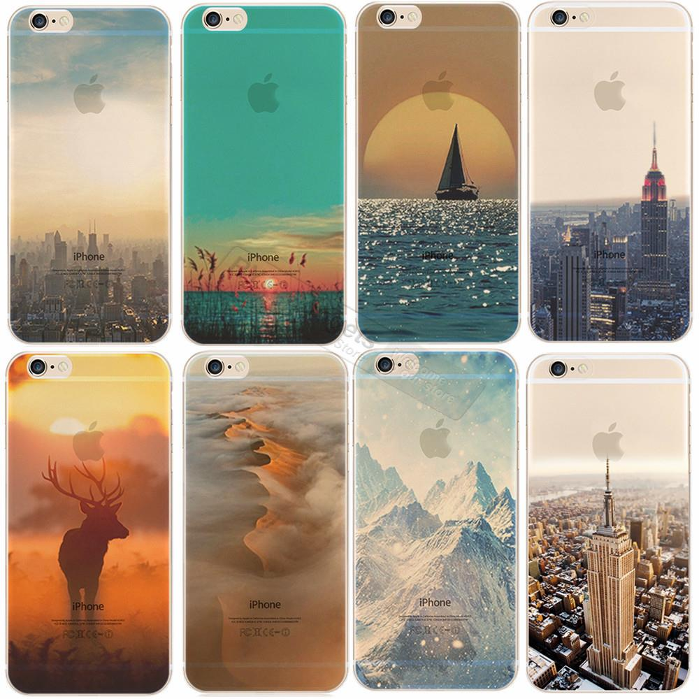 Beautiful City Tower Mountain Ocean Transparent Hard Back Case Cover For Apple iPhone 6 6S Case 4.7 PC 6 Series Crystal(China (Mainland))