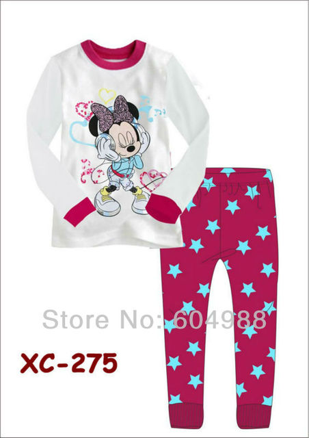 2013 Nice Baby Girl Long Sleeves Autumn pajamas Suit Minnie Mouse Kids Clothes Suit Free Shipping