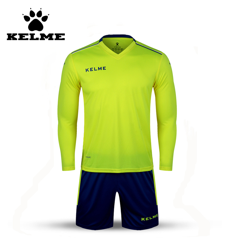 KELME K16Z2004L Men Autumn Long Sleeve Thin Training Light Board Team Football Jersey Suit Yellow Navy Wholesale 28(China (Mainland))