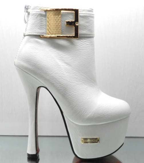 new 2014 Fashion ultra high heels boots platform shoes wedding women ankle white - Online Store 939991 store