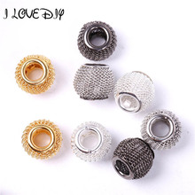 Buy 20pcs Silver Basketball Wives Earrings Lots Spacer Mesh Beads Fit European Charm Bracelet DIY 12mm for $2.50 in AliExpress store