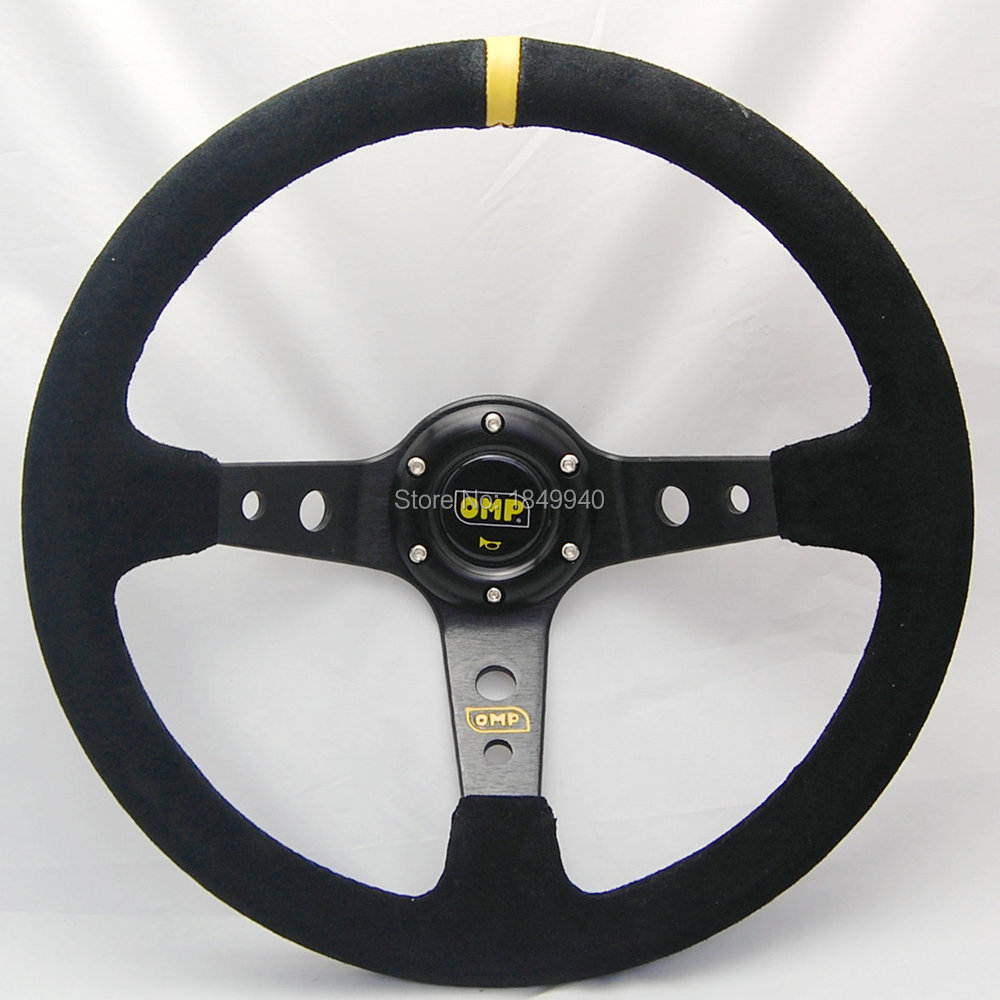 Free shipping universal racing car steering wheel 14 inch sport steering wheel 5125OMP Suede modified OMP steering wheel(China (Mainland))