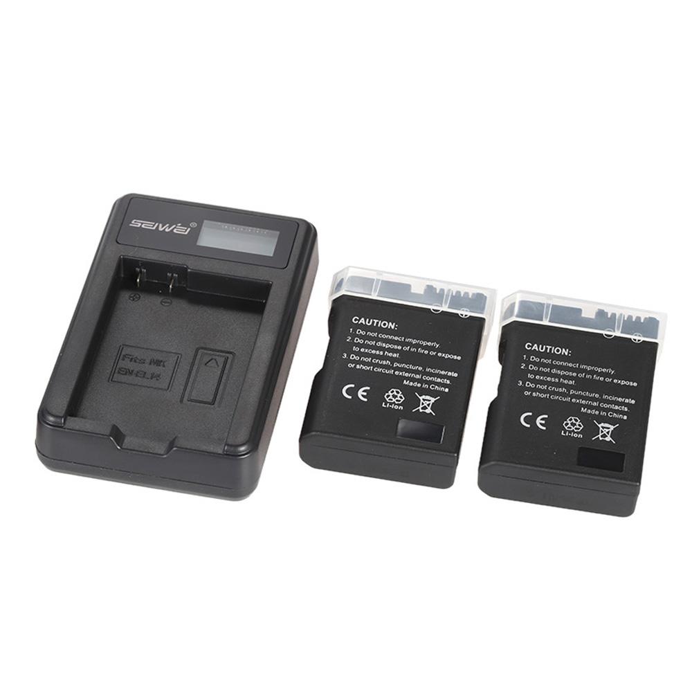 Portable LED Power Charger with 2pcs 1200mAh EN-EL14 Rechargeable Li-ion Lithium Batteries for Nikon DSLR Cameras Camcorder