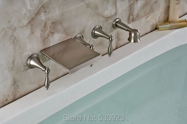 Newly Wall Mounted Bathtub Faucet Set Bathroom Waterfall Shower Tap Nickle Brushed Mixer Tap W/ Handheld Shower Solid Brass(China (Mainland))
