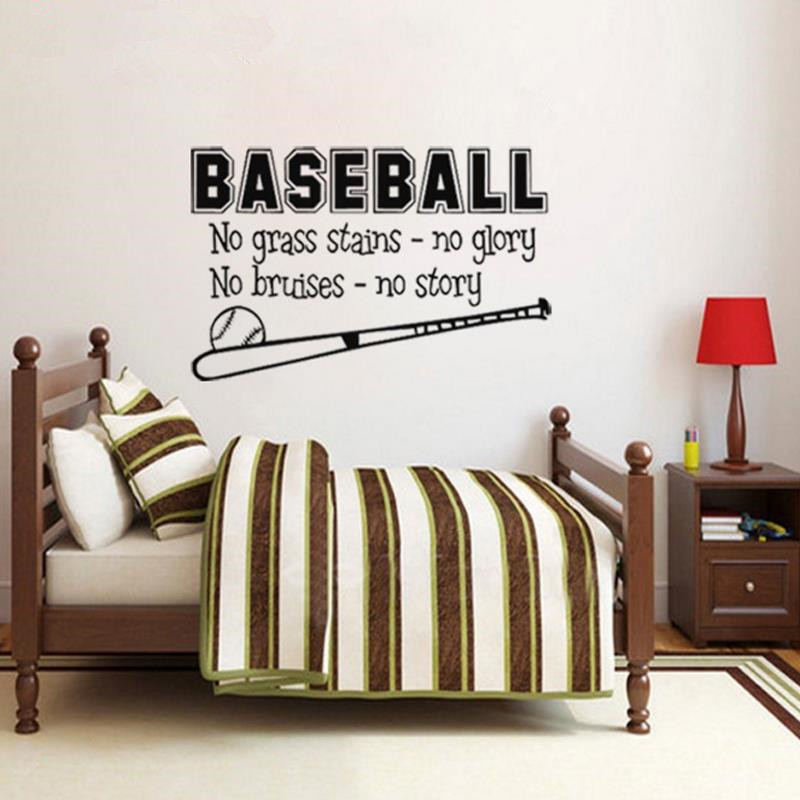 Free Shipping Sports Baseball Wall Decal Boys Room Decor Childrens Decor Vinyl Wall Art Vinyl Lettering Wall Quotes Size41*71cm(China (Mainland))