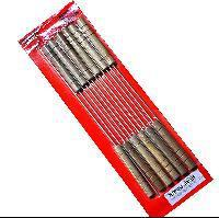 12PCS BBQ Grilled Skewers Steel Needle Barbecue Camping Cooking Wooden Handle