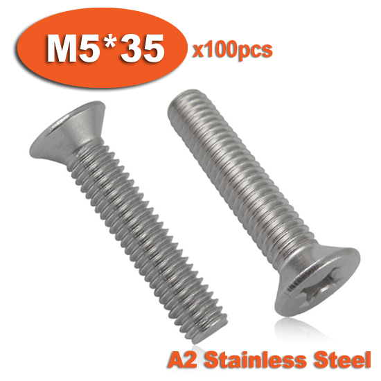 100pcs DIN965 M5 x 35 A2 Stainless Steel Screw Cross Recessed Countersunk Flat Head Screws<br><br>Aliexpress