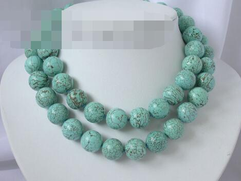 song voge gem nanJ1814 Natural blue round Turquoise Necklace(China (Mainland))