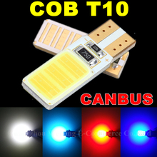 COB T10 Led No OBC Error W5W Led Auto Parking Light Interior License Plate Sidemarker Bulb Bulb White Blue Red Canbus Car Light