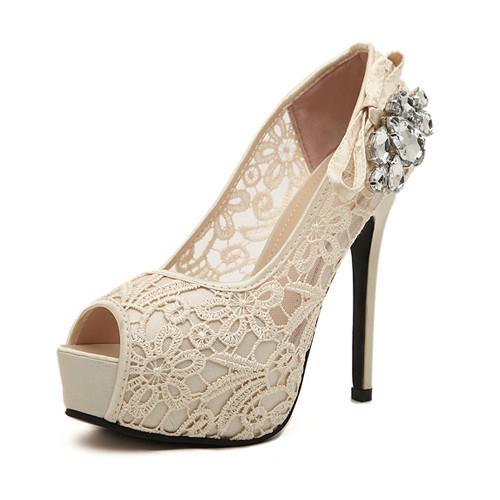 Mulheres bombas 2015 strass sapatos de casamento Sexy Lace Peep Toe plataforma de salto alto sapatos de noiva Zapatos Mujer feminino