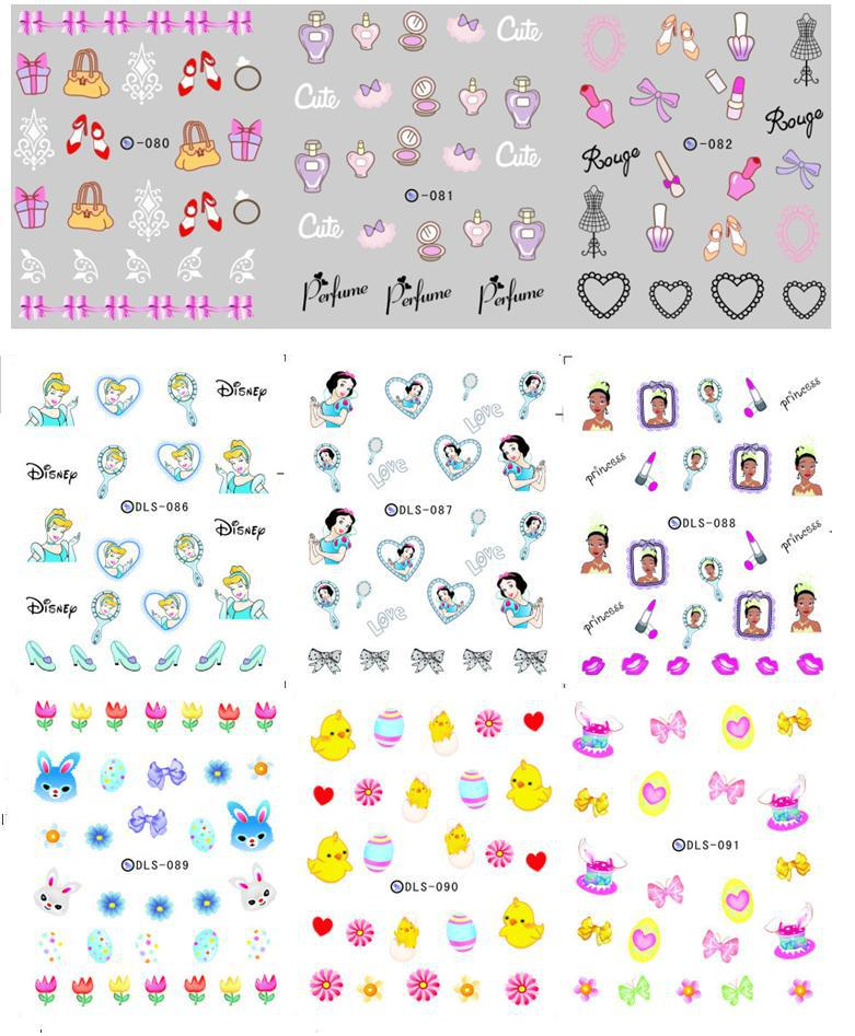 2015 new minx nail patch art water transfer nail stickers decals cute carttoons nail decorations 10sheets/lot free shipping(China (Mainland))
